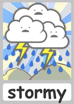 FREE weather Flashcards For Kindergarten! Teach weather easily with these cute flashcards for toddlers! Now with a FREE weather chart & weather animation!