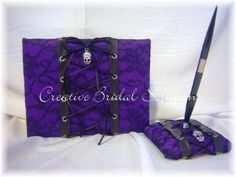 PURPLE BLACK GOTHIC WEDDING GUEST BOOK AND GUEST...