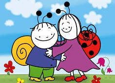 Berry, the Snail and Dolly the Ladybird are the best friends ever. They have many pretty adventures while making new friends and seeking out knowledge about . Drawing For Kids, Children Drawing, Peppa Pig, Colouring Pages, Smurfs, Mickey Mouse, Clip Art, Make It Yourself, Drawings