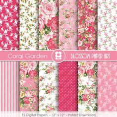 Floral Digital Paper Floral Digital Paper Pack by blossompaperart