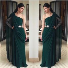 Emerald has always been a fan favourite but can we just talk about how epic this creation by is ! Stylish Sarees, Stylish Dresses, Fashion Dresses, Saree Gown, Sari Dress, Dhoti Saree, Drape Gowns, Draped Dress, Indian Wedding Outfits
