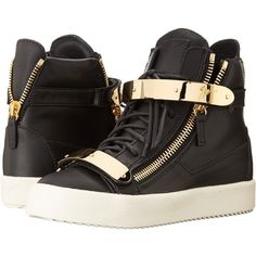 Giuseppe Zanotti RS5029 ($995) ❤ liked on Polyvore featuring shoes, sneakers, birel nero, sneakers & athletic shoes, high top zipper sneakers, low heel shoes, lace up sneakers, lace up high top sneakers and lace up shoes