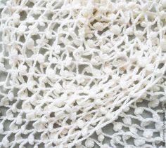 Knitted stole MADE TO ORDER. Crochet Scarf is simple and original. Wool. Handmade crochet scarf. Купить Вязаный палантин Нежность Шарф вязаный ажурный Накидка крючком - белый, палантин, шарф