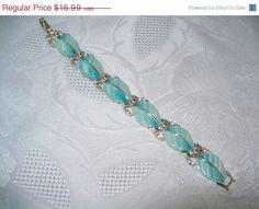 SALE Coro thermoset blue turquoise bracelet by vintagebyrudi