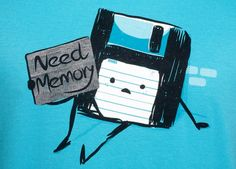 """""""Need Memory"""" de Gums - Consíguela en http://www.pampling.com/ficha_producto.php?id_producto=199 #pampling #tee #tshirt #dailytee #cool #design #creative #fashion #floppy #Camisetas"""
