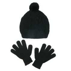 Soft and warm knit fabric will keep you warm and cozy all winter long. The gloves stretch to fit many different sizes. The beanie cap has a traditional pom on the top and a same color rosette on the side. A knit pattern gives it a stylized look.