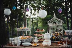13. Forest Wedding,Outdoor buffets,Sweet buffet decor / Leśne wesele,Bufety w plenerze,Słodki bufet,Papierowe dekoracje,Anioły Przyjęć