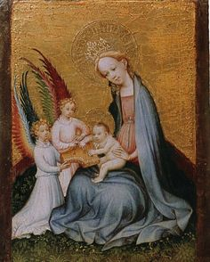 Baby Jesus reading a book. UNKNOWN MASTER, German The Virgin in a Paradise Garden Tempera on oak, x cm Wallraf-Richartz-Museum, Cologne Medieval Paintings, European Paintings, Medieval Art, Renaissance Art, History Images, Art History, Web Gallery Of Art, Paradise Garden, Queen Of Heaven