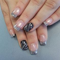 Silver French manicure with Black