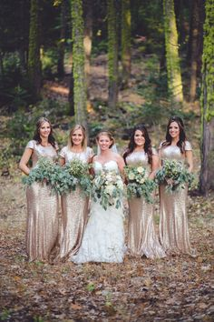 Woodland romance and glitter give this gorgeous wedding the perfect amount of glam. See more on Style Me Pretty. Dress by Maggie Sottero.