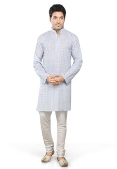 WHITE AND BLUE COTTON READYMADE KURTA WITH CHURIDAR