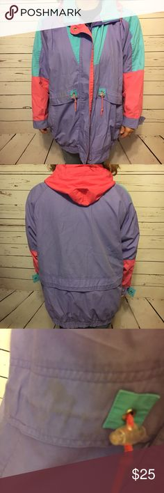 Vintage light weight color block jacket large Vintage classic 80s/90s colors light weight jacket. 23 arm to arm and 31 shoulder to hem. Has a stain on the front pocket as shown and a slight spot on the chest that you can hardly see. Otherwise in good condition. Has a hood. Vintage Jackets & Coats