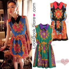 Womens Vintage Point Collar Sleeveless Totem Baroque Print Chiffon Short Dress