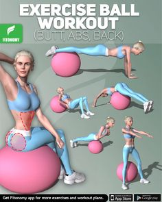Total Body Exercise Ball Workout - Grab an exercise ball and start sculpting your muscles with these stability ball exercises that can - Total Body Workouts, Cardio Workout At Home, At Home Workouts, Training Fitness, Fitness Gym, Fitness Motivation, Strength Training, Physical Fitness, Fitness At Home
