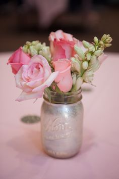 DIY gold and glitter painted mason jar for baby's first birthday