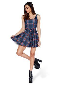 Tartan Navy Scoop Skater Dress