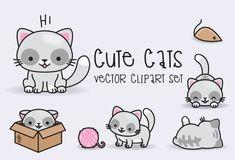 Premium Vector Clipart - Kawaii Cats - Cute Cats Clipart Set - High Quality…