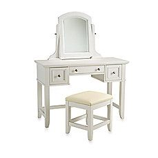 image of Home Styles Naples White Vanity & Bench