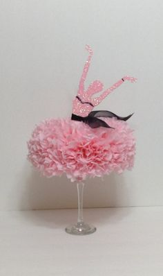 Ballerina Centerpiece Table Centerpiece by BasketsFromAtoZ Birthday Party Table Decorations, Birthday Party Tables, Graduation Party Decor, Diy Birthday, Centerpiece Table, Party Centerpieces, Ballerina Birthday Parties, Ballerina Party, Ballerina Centerpiece