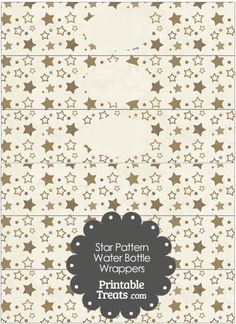 Vintage Brown Star Pattern Water Bottle Wrappers from PrintableTreats.com
