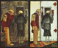 """Hugo Simberg """"Peasant and Death at the Gate of Heaven and Hell"""" 1897"""