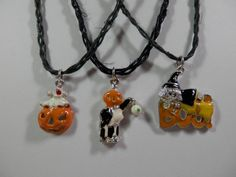 Choose+1or+2+or+3+of+3+16+Halloween+Charm+Necklace+Black+by+2lewa