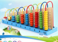 Amazon.com: Multicolor Wooden Abacus Toys Children Counting Blocks Montessori Learning Educational Math Toys: Toys & Games