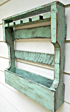 Rustic Wood Wine Rack Distressed Turquoise by RobsRusticCreations