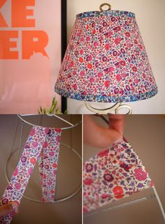 Lampe DIY Floral Lampshade Tutorial - this might work for my oddly shaped lamp shade? Floral Lampshade, Fabric Lampshade, Lampshade Redo, Home Crafts, Diy Home Decor, Diy And Crafts, Creation Couture, Diy Supplies, Diy Furniture
