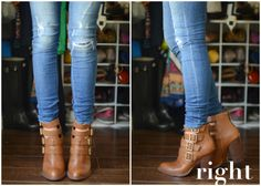 Do& and Don& of Cuffing Your Jeans with Ankle Boots (Part Let's talk about tall ankle boots. Brown Ankle Boots Outfit, Ankle Boots With Jeans, How To Wear Ankle Boots, Brown Boots, Short Boots Outfit, Cuffed Jeans, Skinny Jeans, The Cardigans, Blazers
