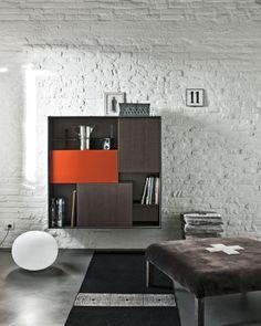 Lacquered suspended oak highboard C_DAY Storage Shelves, Shelving, Shelf, Kitchen Living, Living Room, Concept Architecture, Wall Design, Floating Shelves, Interior Design