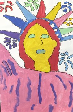 """Statue of Liberty in the Style of Peter Max"" by fourth-grader Kaitlyn Jennings of Elizabeth Scott Elementary"