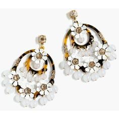 J.Crew Tortoise hoop earrings ($68) ❤ liked on Polyvore featuring jewelry, earrings, steel earrings, beading hoop earrings, tortoise shell hoop earrings, tortoise earrings and flower jewelry