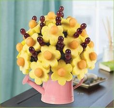 Flower and Fruit Decoration for Mother Day with Grapes and Sun Flowers