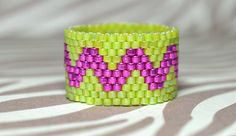 PEYOTE RING Ribbon in Lime and Pink by BeadSplashbyRobyn