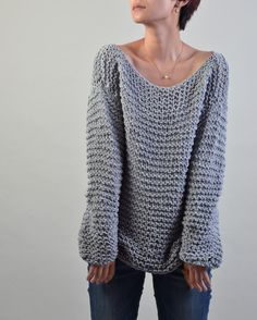 Simple is the best - Hand knitted sweater Eco cotton oversized light grey