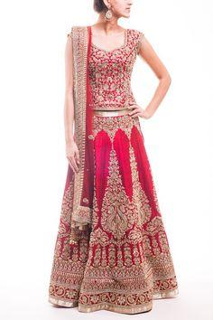 Red Bridal Lehenga …