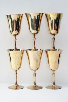 Six Vintage Brass Wine Glasses #vintage #brass #solid #glasses #goblets #wine #barware #retro