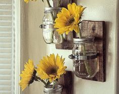 2 Cottage chain hanging Mason jars: Cottage Chic mason by Palletso