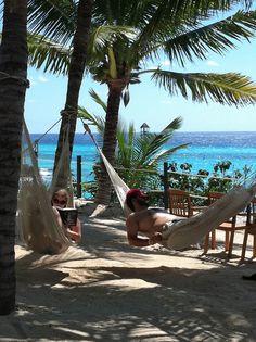 Ahhh, relaxation in a hammock at Garrafon Park, Isla Mujeres, Mexico!