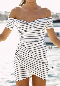 White Striped Print Bandeau Irregular Short Sleeve Mini Dress - Mini Dresses - Dresses