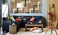 Rustic + Rugged Living Room WestElm.  Coffee table, end table, and rug