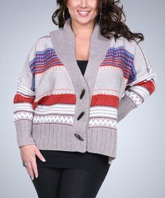 Another great find on #zulily! Beige & Gray Stripe Cardigan - Plus by Ananda's Collection #zulilyfinds