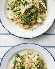 """Warm Quinoa and Chicken Salad. Quick-cooking quinoa is a nutritional powerhouse, packed with protein, iron, and fiber. It is also the foundation for a main-course salad with chicken and springy vegetables. This recipe comes from our book """"One Pot. Healthy One Pot Meals, Healthy Eating, Healthy Recipes, Healthy Dishes, Quinoa Salad Recipes, Chicken Salad Recipes, Quinoa Meals, Recipe Chicken, Salad Chicken"""