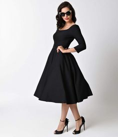 Glamour Bunny 1950s Black Quarter Sleeve Serena Stretch Swing Dress