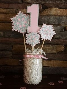Onederland Birthday Party Centerpiece Snowflake Birthday Party Happy Wonderland Birthday Party Decorations I am One pink and silver Onederland Party decoration decorations do it yourself First Birthday Winter, Winter Birthday Parties, Baby Girl 1st Birthday, Happy Birthday, Princess Birthday, Winter Onederland Party Girl 1st Birthdays, Winter Wonderland Birthday, Birthday Party Centerpieces, Birthday Decorations