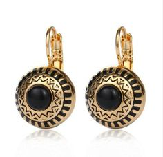 Brinco 3 Colors Stone Rhinstone Real Gold Plated Round Carved Flower Ethnic Enamel Drop Earrings 2016 Bijoux Boucle D'oreille