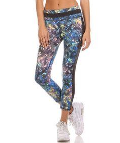 Another great find on #zulily! Black & Navy Watercolor Geo Crop Leggings #zulilyfinds