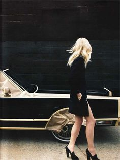 black and blonde and paper bags. i'd drive this car and wear this outfit. together of course.