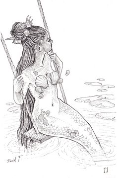 """thispoetspace: """"thecolormonster: """" INKTOBER #11 """"Mermaid in Frenchman's Cove"""" (inspired by a beautiful photo of kai-zzer) """" @modernday-siren"""""""